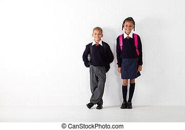 elementair, scholieren, staand