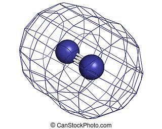Elemental nitrogen (N2), molecular model. Nitrogen gas is...