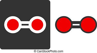 Elemental oxygen (O2), flat icon style. Atoms shown as...