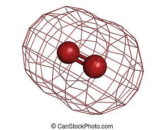 Elemental oxygen (O2), molecular model. Atoms are...