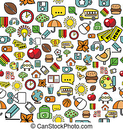 elemental, patrón, escuela, elementos, seamless
