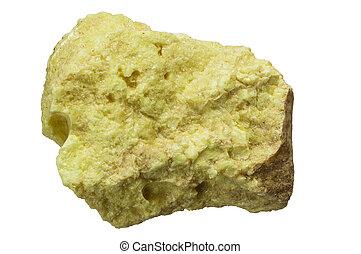 elemental native sulfur rock isolated on white background