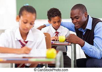 elementar, ajudando, professor escola, estudante