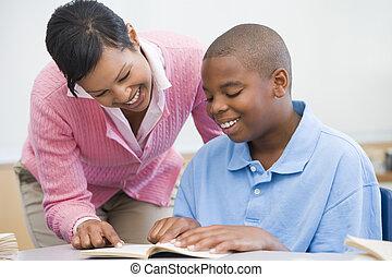 elementar, ajudando, professor escola, pupila