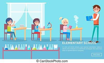 elementar, classe, escola, pupilas, professor