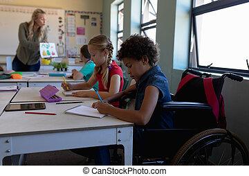 elementar, klassenzimmer, schoolgirl, schule, rollstuhl, sitzen