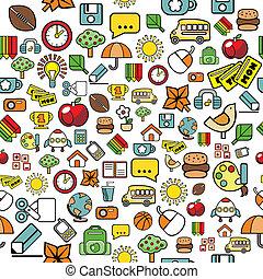 elementar, padrão, escola, elementos, seamless