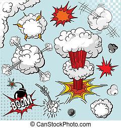 elementara, bok, explosion, komiker