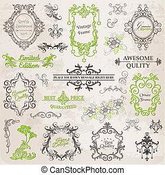 elementara, dekoration, ram, kollektion, calligraphic, vektor, design, årgång, blomningen, sida, set: