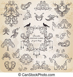 elementara, dekoration, ram, kollektion, calligraphic, ...