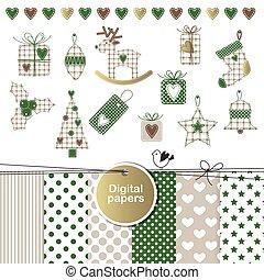 elementara, -, design, år, färsk, jul