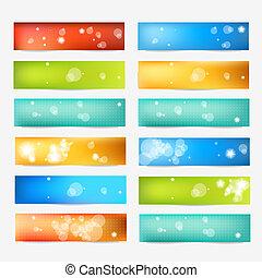 elementara, design, banner., färg, nät, sätta