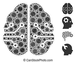 elementara, elektronisk, coronavirus, hjärna, mosaik