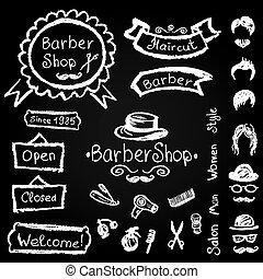 elementara, frisör, krita, frisersalong, sätta, vektor, design, hipster