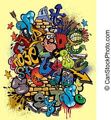 elementara, graffiti, vektor