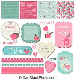 elementara, kärlek, -, inbjudan, vektor, design, hälsningar, urklippsalbum, sätta, kort