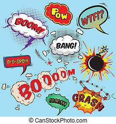 elementara, kollektion, anförande, design, komiker, bubblar