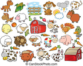 elementara, lantgård, vektor, design, djur