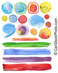 elementara, målad, kollektion, hand, vattenfärg, design, bakgrund