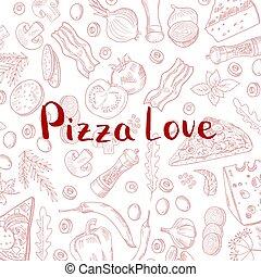 elementara, matlagning, hand, vektor, bakgrund, oavgjord, pizza