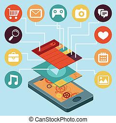 elementara, mobil, -, ringa, vektor, infographic