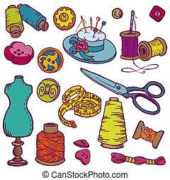 elementara, sömnad, -, hand, vektor, design, doodles, oavgjord, utrustning