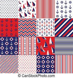 elementara,  seamless, mönster, nautisk