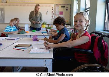 elementare, aula, scolara, scuola, carrozzella, seduta