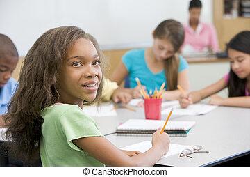 elementare, aula, scuola, pupilla