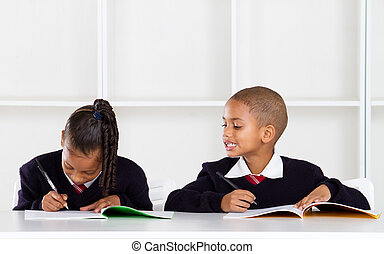 elementare, carino, sbirciando, scolaro
