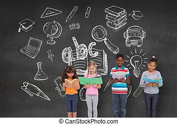 elementare, composito, lettura, alunni, immagine