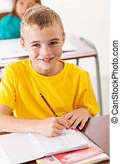 elementarer student, in, klassenzimmer