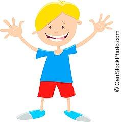 Cartoon Illustration of Happy Elementary Age Boy Character
