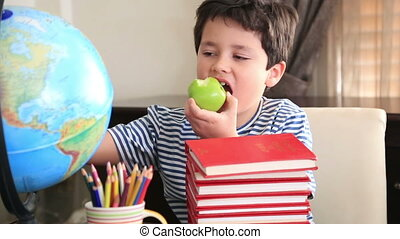Young boy looking at camera and eating apple