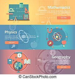 Elementary mathematics. Basic math. Physics subject. Geography science. School subjects. Education and science banners set. Vector design concept.