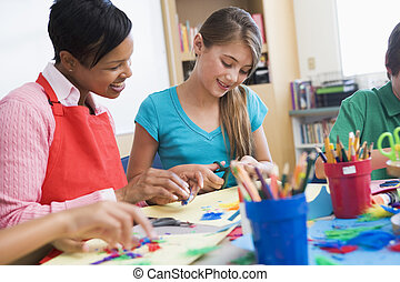 Elementary pupil in art class