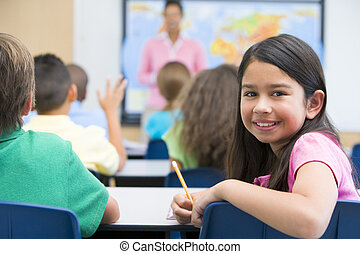 Elementary pupil in class - Elementary pupil in geography...