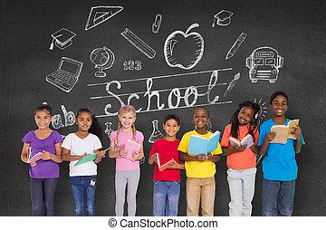 Elementary pupils reading books