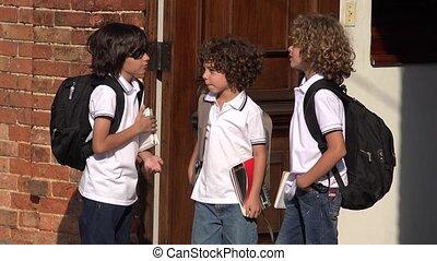 Elementary School Boys Socializing