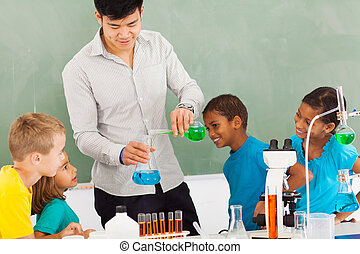 elementary school chemistry experiment in classroom