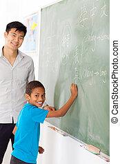 elementary school Chinese language teacher and student