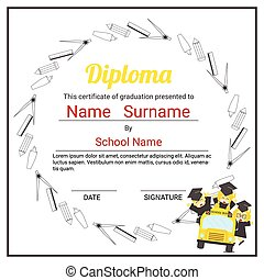 Elementary school kids diploma certificate background design template