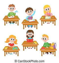 Elementary school kids in classroom - reading, writing, raising hand, studying