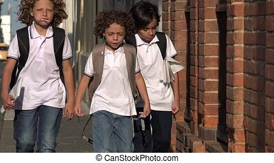 Elementary School Kids Walking
