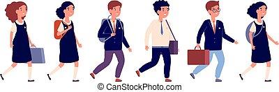 Elementary school students. Cartoon preschool kid, group different pupils. Flat happy children walking with bag backpack vector illustration