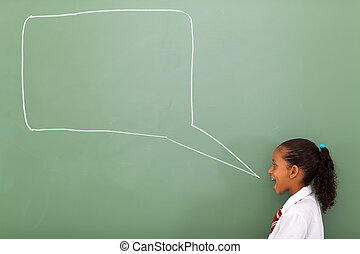 elementary schoolgirl with speech bubble