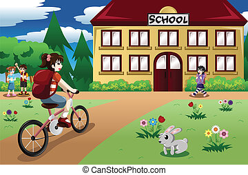 A vector illustration of elementary student girl riding a bike to school