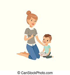 Elementary teacher having class with her little pupil, boy sitting on the floor and reading a book, preschool education concept vector Illustration