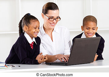 elementary teacher teaching pupils