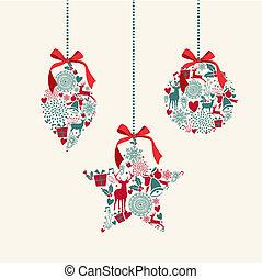 elemente, baubles, frohe weihnacht, composition., hängender